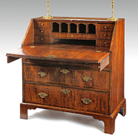 A fine Queen Anne period walnut veneered bureau Thumbnail 1