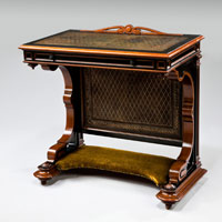 A rare late 19th Century ebony and snake wood writing desk. Thumbnail 1
