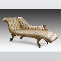 An elegant mid 19th Century mahogany chaise longue. Thumbnail 1