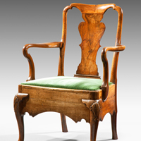 Antique Queen Anne walnut commode armchair