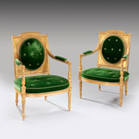 A fine pair of giltwood late 18th Century salon chairs . Thumbnail 1