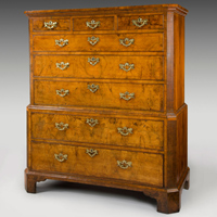 A George I period walnut veneered tallboy of unusual proportions. Thumbnail 1