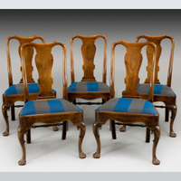 A well patinated set of five George II period mahogany dining chairs. Thumbnail 1