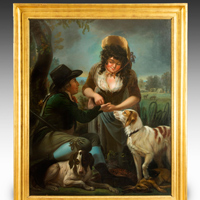 An antique oil painting of a hunter and a fortune teller.