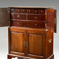 An unusual 18th Century mahogany cabinet. Thumbnail 1