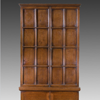 A George II period oak press cupboard. Thumbnail 1