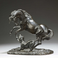 A bronze scultpure of a horse and hound by Giuseppe Buzzi. Thumbnail 1