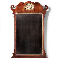 Antique George II period walnut mirror.