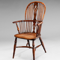 An Eighteenth Century yewwood and elm windsor armchair. Thumbnail 1
