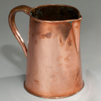 A 19th Century copper ale jug. Thumbnail 1