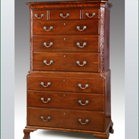 A good Chippendale period mahogany tallboy. Thumbnail 1
