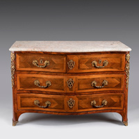 Antique Regence parquetry veneered commode.