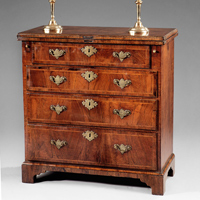 A fine Queen Anne period walnut veneered batchelor's chest. Thumbnail 1