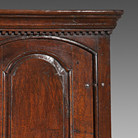 An early Eighteenth Century oak three door housekeeper's cupboard. Thumbnail 1