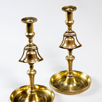 A rare pair of 19th Century bell metal Tavern Candlesticks. Thumbnail 1
