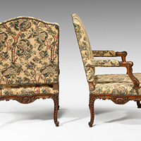 A pair of Louis XV revival carved walnut armchairs. Thumbnail 1