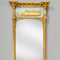 A Regency period vere eglomise pier glass mirror. Thumbnail 1