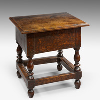 A good 17th Century oak box stool. Thumbnail 1