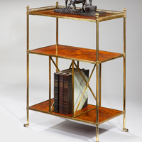 A fine mid 19th Century walnut and brass etagere. Thumbnail 1