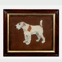 A 19th Century woolwork picture of a Fox Terrier. Thumbnail 1