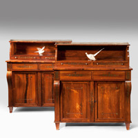 A handsome pair of Regency period rosewood and brass inlaid chiffoniers. Thumbnail 1