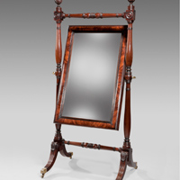 A Regency mahogany cheval mirror. Thumbnail 1