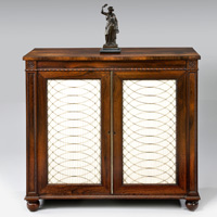 A good Regency period rosewood veneered two door chiffonier. Thumbnail 1