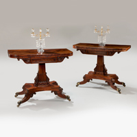 A superbly carved pair of Regency period mahogany tea tables. Thumbnail 1