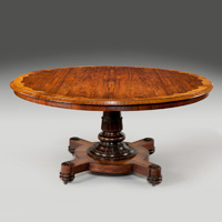 A large antique circular dining table.
