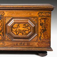 A 17th Century German oak inlaid marriage chest.  Thumbnail 1