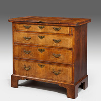 A rare George I period walnut bachelor's chest. Thumbnail 1