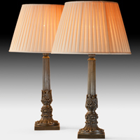 A fine pair of early Nineteenth Century bronze lamps. Thumbnail 1