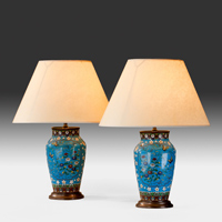 A pair of Chinese late 19th Century cloisonne vases converted to lamps. Thumbnail 1