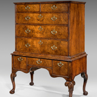 A handsome Queen Anne period walnut chest on stand. Thumbnail 1