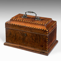 A Chippendale period mahogany tea caddy. Thumbnail 1