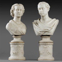 A fine pair of Parian ware busts of Edward, Prince of Wales and Princess Alexandra by Copeland. Thumbnail 2