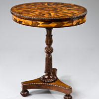 A Regency period parquetry veneered drum table. Thumbnail 2