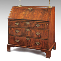 A fine Queen Anne period walnut veneered bureau Thumbnail 2