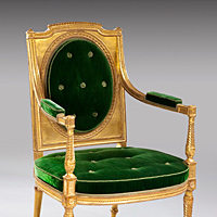 A fine pair of giltwood late 18th Century salon chairs . Thumbnail 2