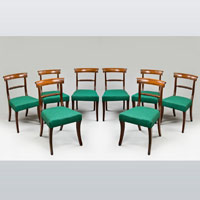 A fine set of eight Regency period mahogany dining chairs. Thumbnail 2