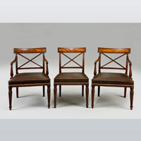 A fine set of 12 (10+2) George III period mahogany dining chairs.  Thumbnail 2