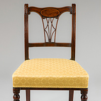 An elegant set of six Sheraton period mahogany dining chairs. Thumbnail 2
