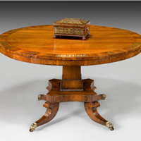 A fine Regency period rosewood veneered and brass inlaid centre table. Thumbnail 2