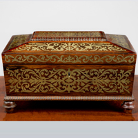 A Regency period rosewood veneered and brass inlaid jewellery box. Thumbnail 2