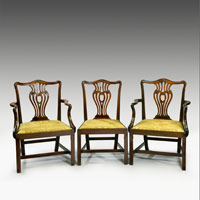 An elegant set of eight (6+2) Chippendale period mahogany dining chairs. Thumbnail 2