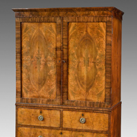 A beautifully patinated Regency period mahogany 2 door cabinet. Thumbnail 2