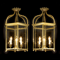 A fine pair of late 19th Century brass lanterns. Thumbnail 2