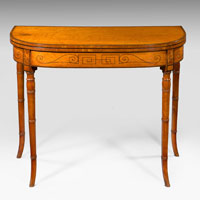 An elegant Sheraton period satinwood veneered tea table. Thumbnail 2