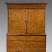 A rare Queen Anne period burr yew veneered cabinet on chest. Thumbnail 2