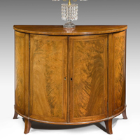 An elegant Sheraton period mahogany veneered demi-lune commode. Thumbnail 2